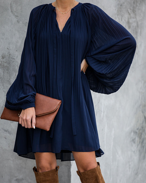 Very Merry Pleated Chiffon Dress - Navy - FINAL SALE view 2