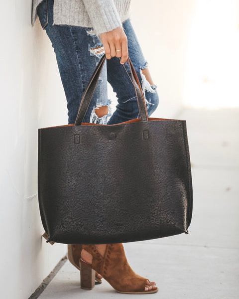 Reversible Shopper Tote - Black/Brown
