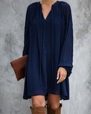 Very Merry Pleated Chiffon Dress - Navy - FINAL SALE view 3
