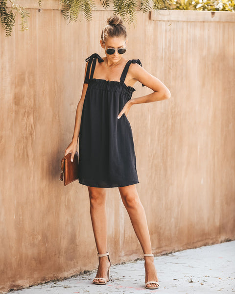 Daytime Fun Tie Dress - Black