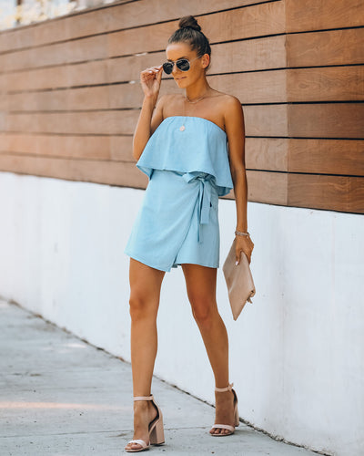 Evie Linen Blend Strapless Wrap Romper - Chambray