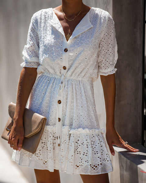 Collecting Shells Eyelet Adjustable Button Down Dress