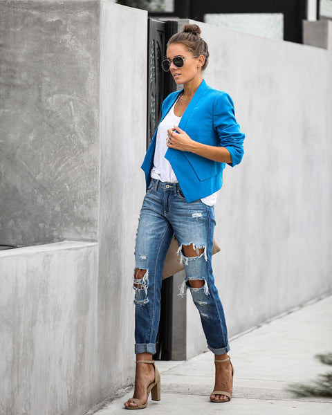 Electric Blue Asymmetrical Layered Jacket - FINAL SALE