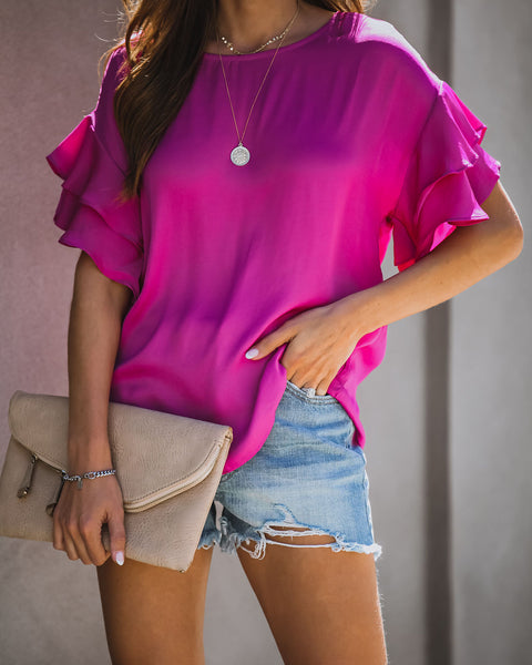 Color Me Happy Satin Ruffle Blouse - Berry