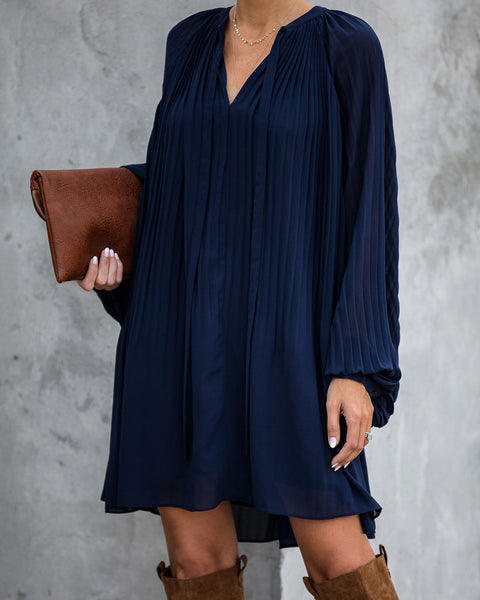 Very Merry Pleated Chiffon Dress - Navy - FINAL SALE