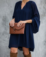 Very Merry Pleated Chiffon Dress - Navy - FINAL SALE view 5