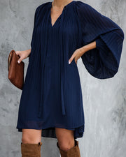 Very Merry Pleated Chiffon Dress - Navy - FINAL SALE view 6
