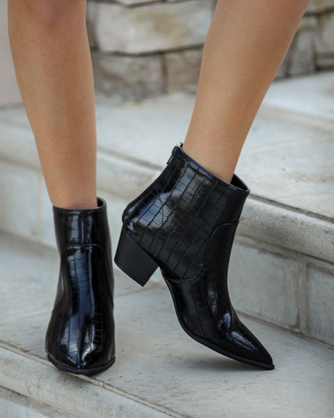 Austin Croc Embossed Bootie - Black - FINAL SALE