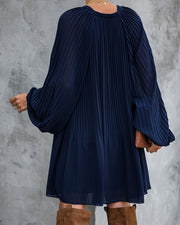 Very Merry Pleated Chiffon Dress - Navy - FINAL SALE view 7