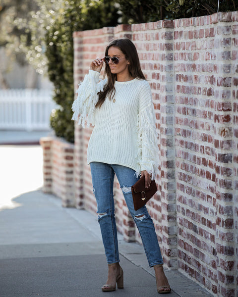Tessa Fringe Knit Sweater - FINAL SALE