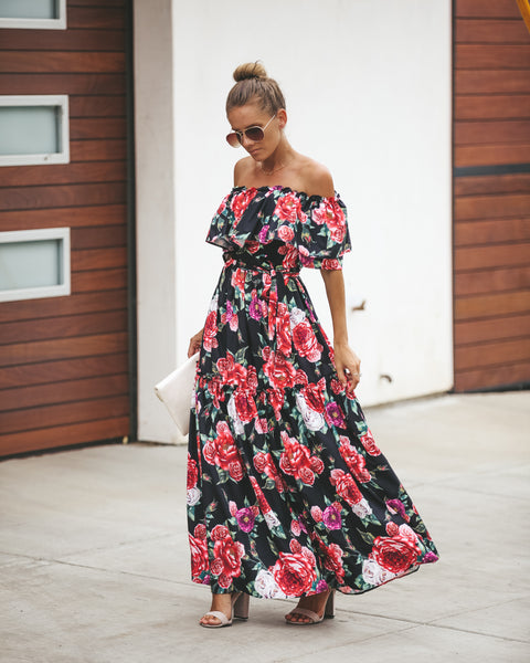 Saffron Floral Off The Shoulder Maxi Dress - FINAL SALE