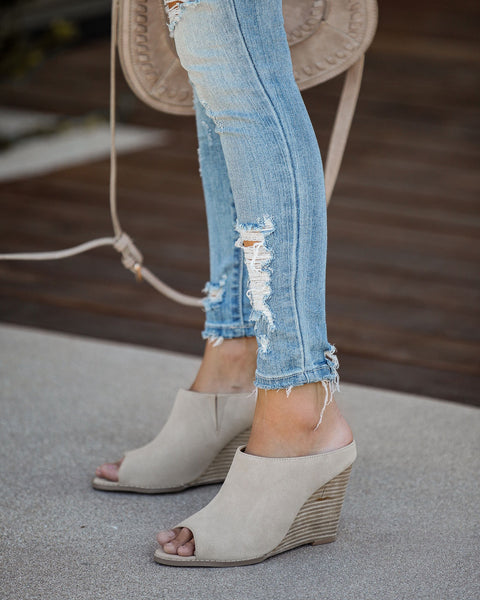 Demi Faux Suede Wedge Mule - Taupe - FINAL SALE