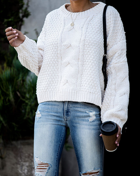 Love Fall Most Of All Cable Knit Sweater - Ivory