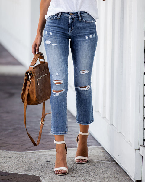 Glorious Mid Rise Distressed Denim - FINAL SALE