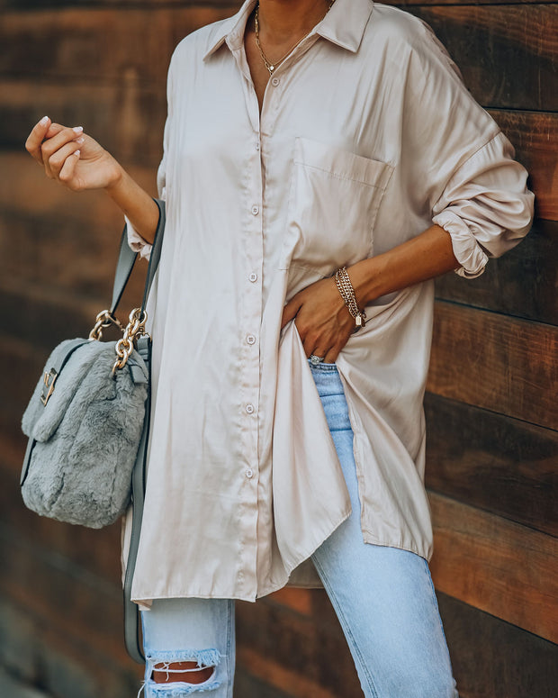 Contemporary High Sheen Button Down Tunic - Champagne