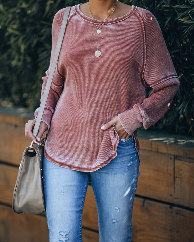 Pivot Cotton Blend Long Sleeve Thermal Top - Rust