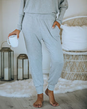 Count Sheep Pocketed Ribbed Knit Joggers - Heather Grey  - FINAL SALE
