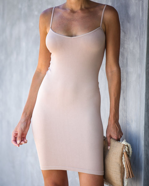 Seamless Mini Slip Dress - Nude - FREE PEOPLE