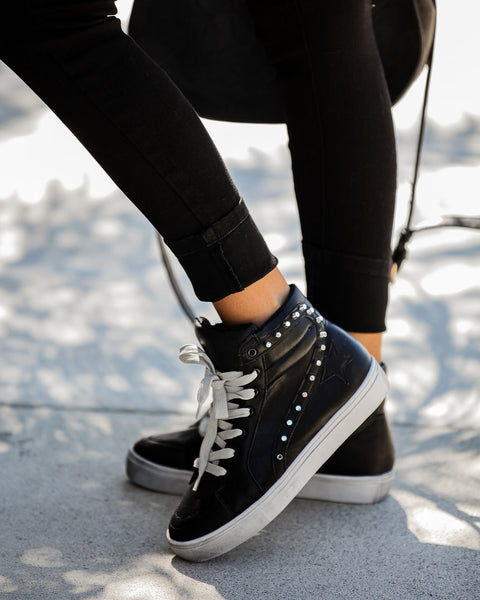 Teagan Distressed Faux Leather Studded High-Top Sneakers