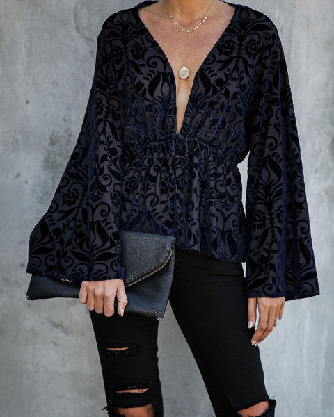 Sky Is Falling Velvet Burnout Tie Top - FINAL SALE