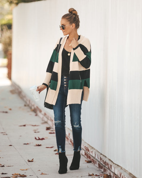Hall Of Fame Striped Pocketed Cardigan - Green