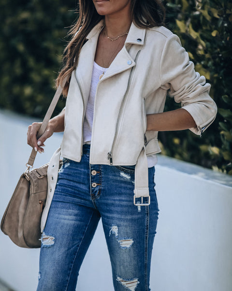 Minimal Maven Pocketed Faux Suede Moto Jacket