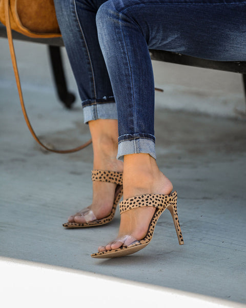 All Or Nothing Clear Strap Heels - Cheetah - FINAL SALE