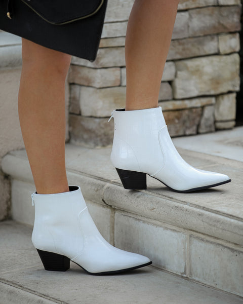 Austin Croc Embossed Bootie - White  - FINAL SALE