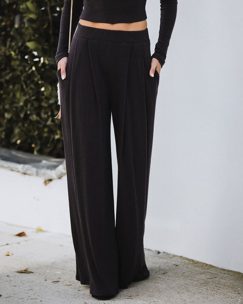 Hermosa Pocketed Ribbed Wide Leg Pants - Dark Charcoal