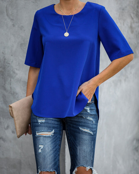 Multitask Short Sleeve Blouse - Cobalt