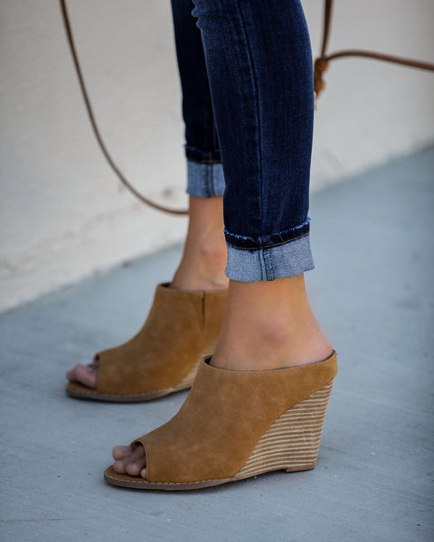 Demi Faux Suede Wedge Mule - Tan - FINAL SALE