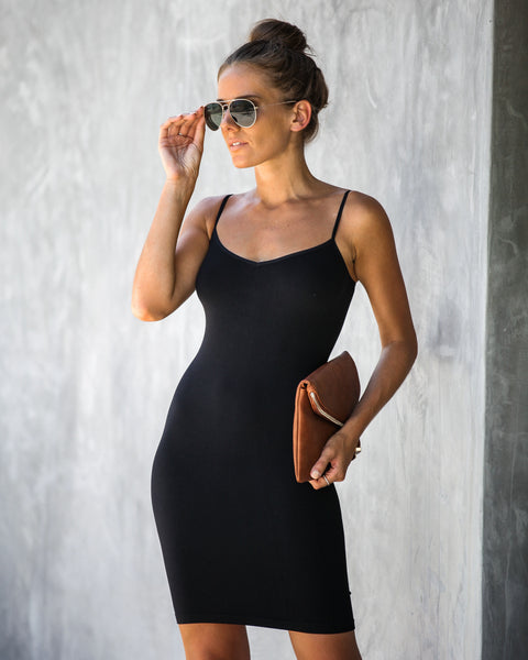 Seamless Mini Slip Dress - Black - FREE PEOPLE