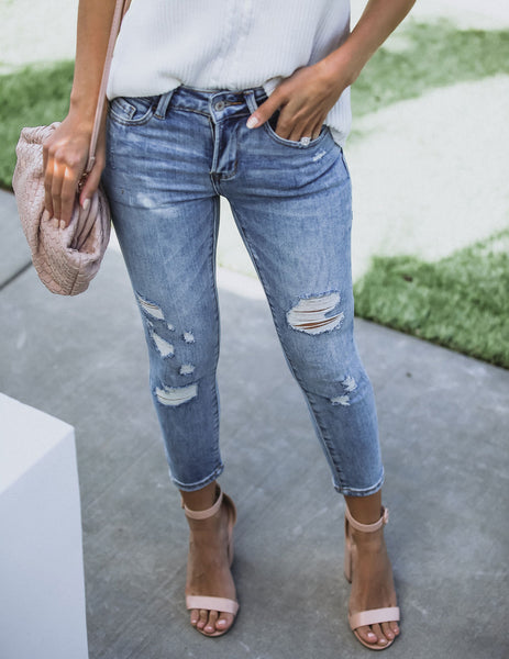 Harmony Mid Rise Distressed Skinny - FINAL SALE
