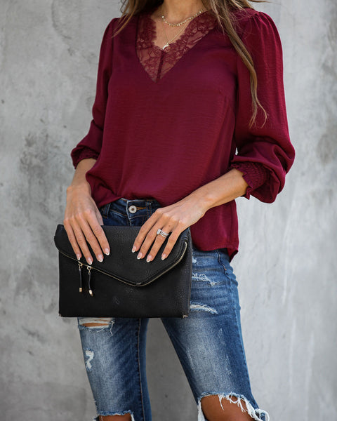 Celebration Of Love Satin Smocked Lace Blouse - Burgundy