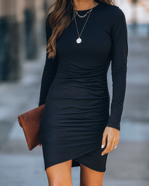 La Vida Loca Long Sleeve Gathered Knit Dress - Black