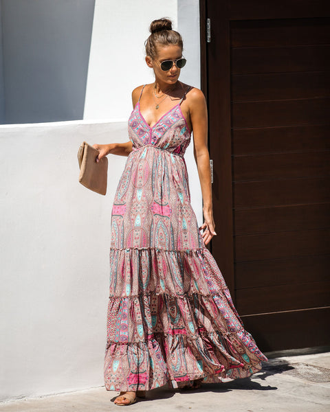 Good As Gone Adjustable Tiered Maxi Dress