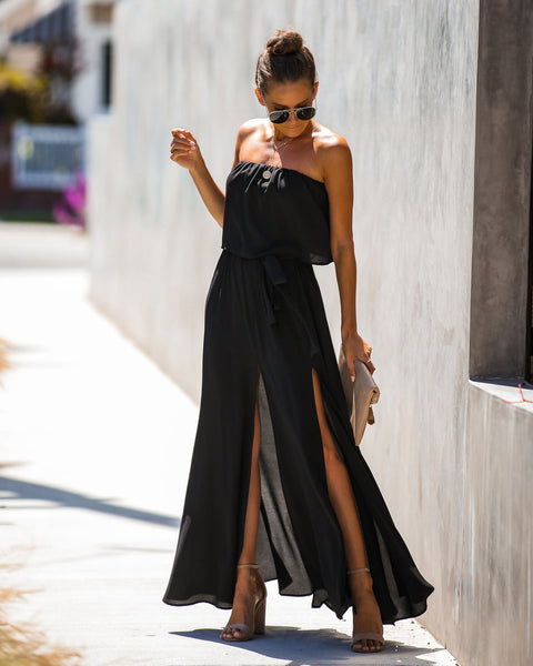 ca736d24c88cb3 Twilight Strapless Slit Maxi Dress - Black