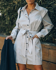 Gomez Pocketed Button Down Shirt Dress view 1