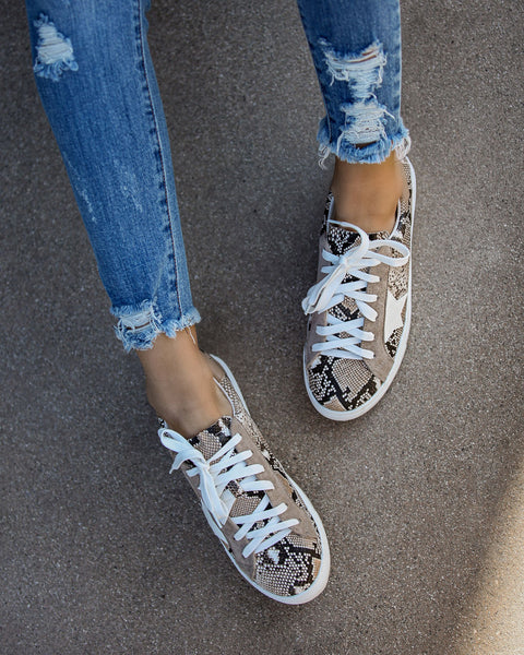 Encore Embossed Snakeskin Sneakers