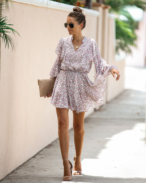 Peonies Floral Ruffle Dress