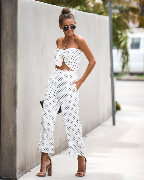 All Smiles Polka Dot Bandeau Tie Top - FINAL SALE