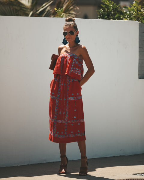 Hacienda Embroidered Cotton Pocketed Dress - Rust