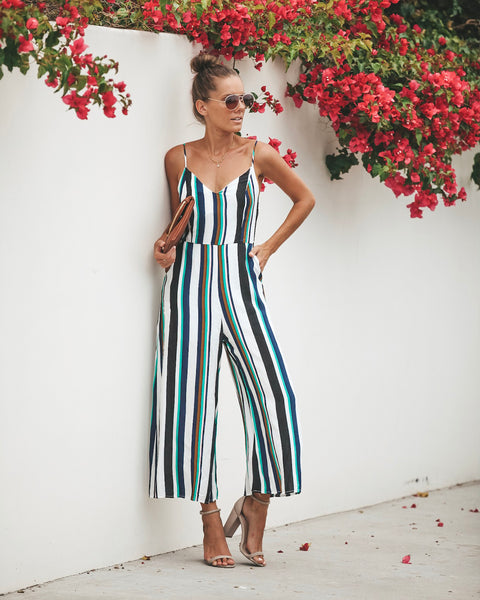 Step Out In Stripes Pocketed Jumpsuit