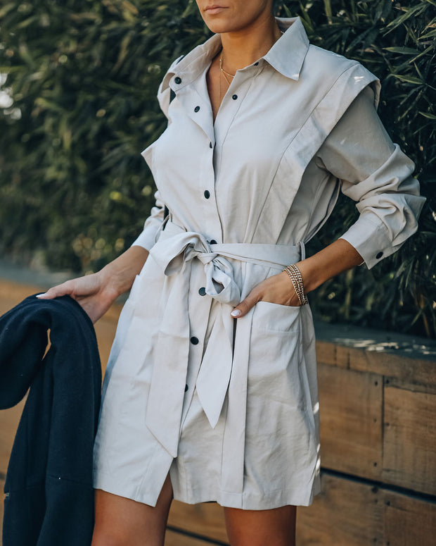 Gomez Pocketed Button Down Shirt Dress