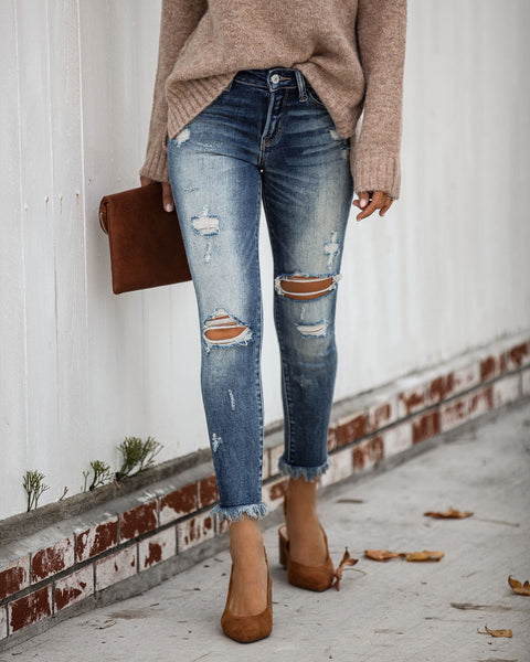 Steadfast Mid Rise Frayed Ankle Skinny - FINAL SALE