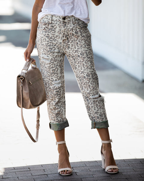 Do No Harm Leopard Distressed Boyfriend Denim