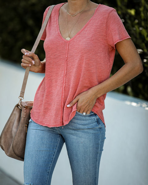 Wearever Cotton Blend V-Neck Tee - Coral