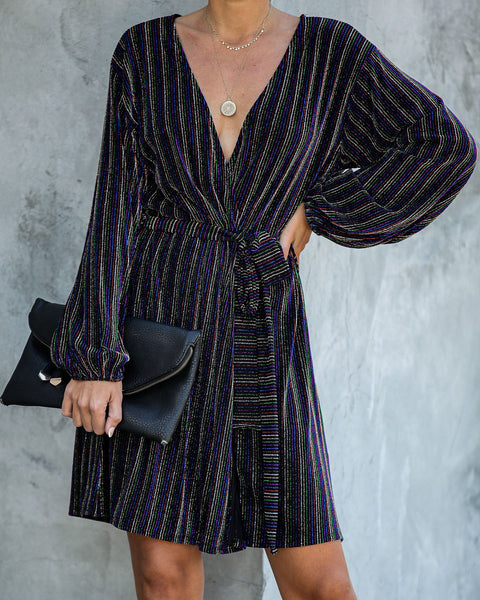 Sing Along Metallic Striped Wrap Dress