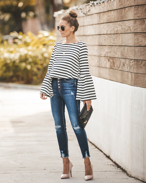Live + Love Striped Bell Sleeve Knit Top