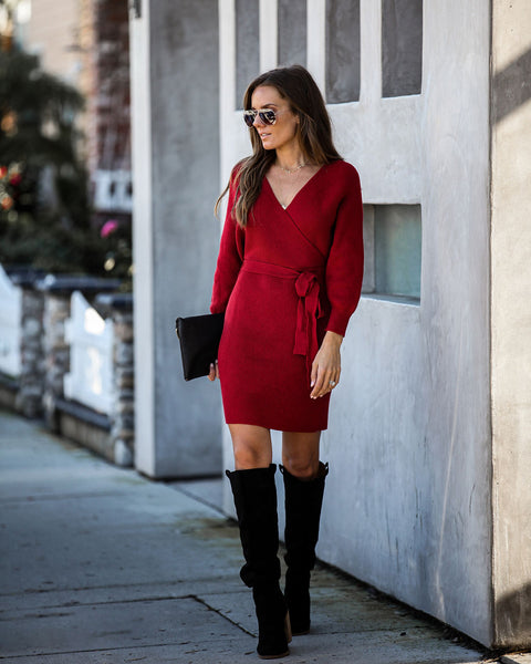 Blow A Kiss Drape Knit Sweater Dress - Burgundy  - FINAL SALE